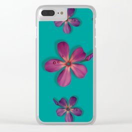 """""""Coral, pink & orange Violets over a teal background"""" Clear iPhone Case"""