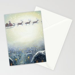 Holiday Christmas Santa Sleigh Reindeer Painting Stationery Cards