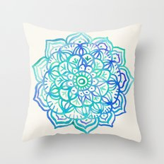 Watercolor Medallion in Ocean Colors Throw Pillow