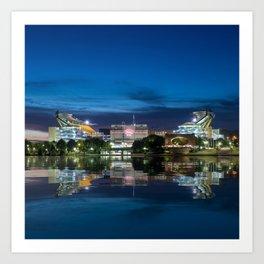 Heinz Field at night - Pittsburgh NFL stadium Art Print
