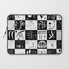 Kandinsky - Black and White Pattern - Abstract Art Laptop Sleeve