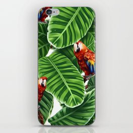tropical leaves macaw pattern iPhone Skin