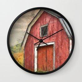 New England Red Barn Pencil Wall Clock