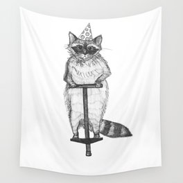 party raccoon on a pogo stick Wall Tapestry
