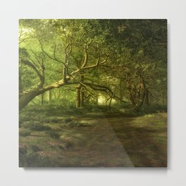 Fantasy Forest Painting Green Wood Metal Print