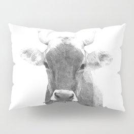 Cow black and white animal portrait Pillow Sham