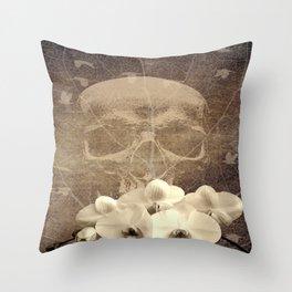Skull Human Vintage Flowers Digital Collage Throw Pillow