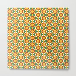 Yellow flowers on green field Metal Print