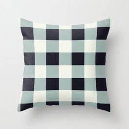 Mountain Blue Grey Checkered Plaid Throw Pillow