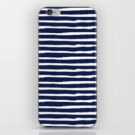 Navy Blue Stripes on White II iPhone Skin