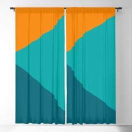 Jag - Minimalist Angled Geometric Color Block in Orange, Teal, and Turquoise Blackout Curtain