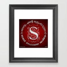 Joshua 24:15 - (Silver on Red) Monogram S Framed Art Print
