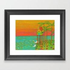 Surf Paradise Dream Home House on Stilts Framed Art Print