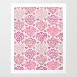 Pink Heart Valentine's Doilies Pattern Art Print
