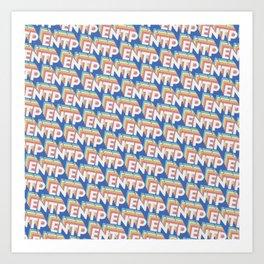 ENTP Trendy Rainbow Text Pattern (Blue) Art Print