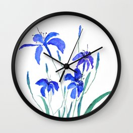 blue day lily Wall Clock