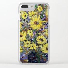 Misty Autumn Sunflowers Clear iPhone Case