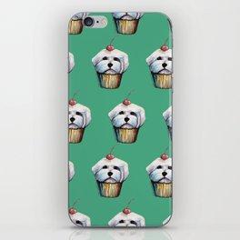 """Cherry on Pup"" Maltese Cake Pattern Green iPhone Skin"