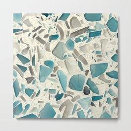 Turquoise Terrazzo Tile Pattern Metal Print