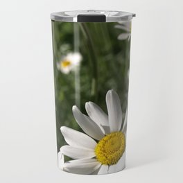 SUN WORSHIPPING WHITE DAISY FLOWERS Travel Mug