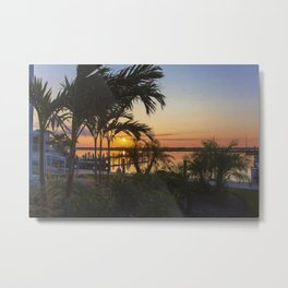 Sunset in Downtown Chincoteague Metal Print