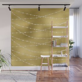 Merry christmas- white winter lights on gold pattern Wall Mural