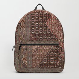 Persia Medallion Old Century Authentic Colorful Brown Redish Tan Vintage Rug Pattern Backpack