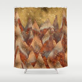 Abstract Copper  Gold Glitter Mountain Dreamscape Shower Curtain