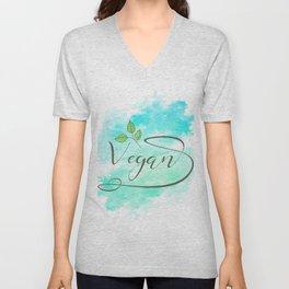 Watercolour Vegan lettering Unisex V-Neck