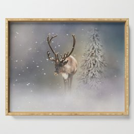 Santa Claus Reindeer in the snow Serving Tray