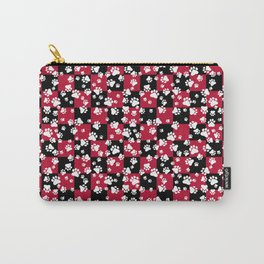 Paw Prints on Bull Dog Red and Black Checker Pattern Digital Design Carry-All Pouch