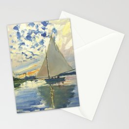 Sailboat Le-Petit-Gennevilliers Claude Monet Fine Art Stationery Cards