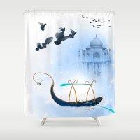 voyage Shower Curtains featuring VOYAGE by dirdamal