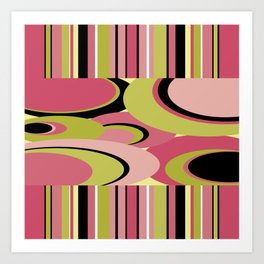 Contemporary Circles and Stripes Pattern in Hot Pink Neon Green and Black Art Print