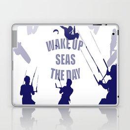 Wake Up Seas The Day Kiteboarder In Blue Shades Laptop & iPad Skin