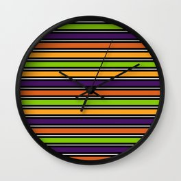 Modern colorful halloween October 31 abstract stripes Wall Clock