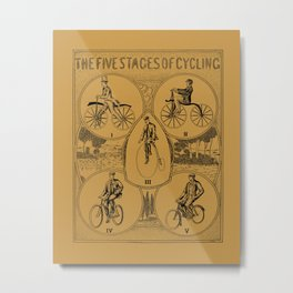 The five stages of cycling (bicycle history) Metal Print