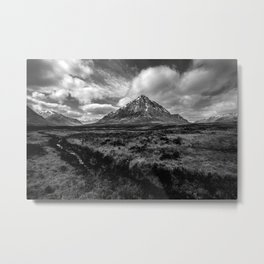 Etive Mor Black and White Metal Print