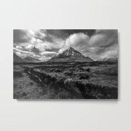 Etive Mor Black and White Metal Print