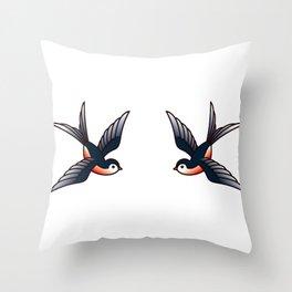 Vintage Tattoo Style Swallows Throw Pillow