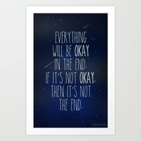 the fault in our stars Art Prints featuring The Fault In Our Stars by Adel