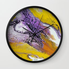 Jupiter, acrylic on canvas, dirty pouring medium Wall Clock