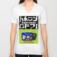 cowboy bebop V-neck T-shirts featuring Don't Chug Soy Sauce - Chuggalo Bebop by How Much Can You Chug Foo?!