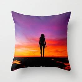 silhouette photography of a woman Throw Pillow