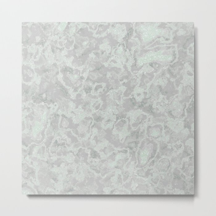 White Light Gray Silver Marble Texture Metal Print