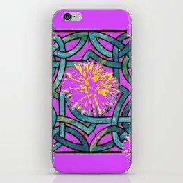 Purple & Aqua Fuchsia Floral Abstract  Art Nouveau iPhone Skin