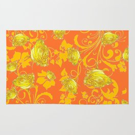 AWESOME CUMIN ORANGE & YELLOW ROSE SCROLLS  ART Rug