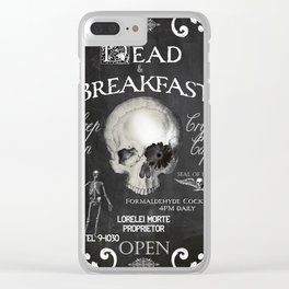 Halloween Decor Dead and Breakfast Clear iPhone Case
