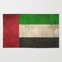 arab Area & Throw Rugs featuring Old and Worn Distressed Vintage Flag of United Arab Emirates by Jeff Bartels
