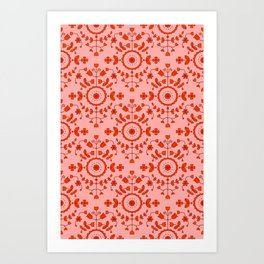 Boho Floral - Orange Art Print